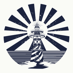 Lighthouse tattoo art, symbol of meditation, hiking, adventures.
