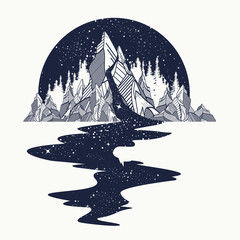 River of stars flows from the mountains, tattoo art