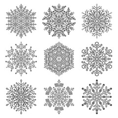 Set of snowflakes. Fine winter ornament. Snowflake collection. Black and white colors