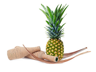 Still life of pineapple and decorated bottles isolated on white background. Closeup.