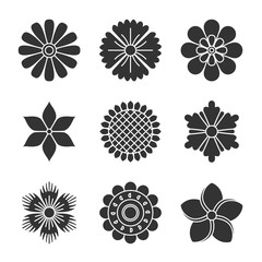 Flowers silhouette icons.