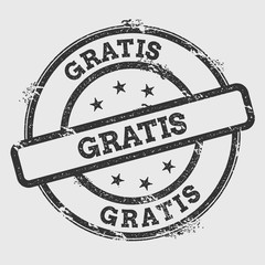 Gratis rubber stamp isolated on white background. Grunge round seal with text, ink texture and splatter and blots, vector illustration.