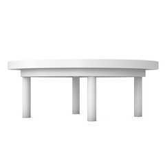 White Round Table. 3D render isolated on white. Platform or Stand Illustration. Template for Object Presentation.