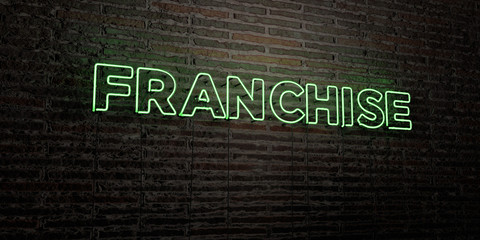 FRANCHISE -Realistic Neon Sign on Brick Wall background - 3D rendered royalty free stock image. Can be used for online banner ads and direct mailers..