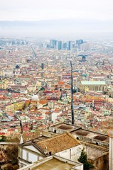 Naples, Italy - panoramic view of Spaccanapoli, the street that divides the old city