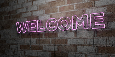 WELCOME - Glowing Neon Sign on stonework wall - 3D rendered royalty free stock illustration.  Can be used for online banner ads and direct mailers..