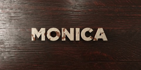 Monica - grungy wooden headline on Maple  - 3D rendered royalty free stock image. This image can be used for an online website banner ad or a print postcard. Wall mural