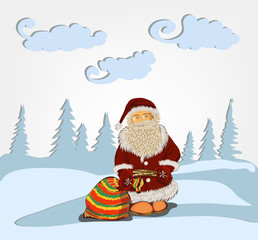 Santa Claus standing in the snow with a bag of gifts. Bag with gifts Santa standing in snowdrift. He stands against the background of the winter forest.