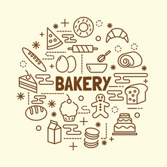 bakery minimal thin line icons set