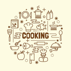 cooking minimal thin line icons set