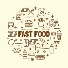 fast food minimal thin line icons set