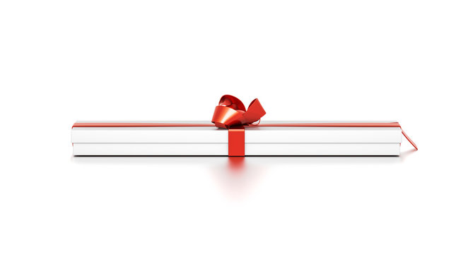 White gift box with red ribbon bow tie from top front angle. Thin, wide, horizontal, long, rectangle and large size.