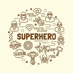 superhero minimal thin line icons set