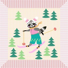Cute cartoon raccoon on skiing in the forest. Winter knitted pattern with unusual frame. Christmas background. Greeting card.