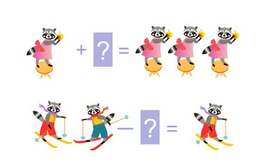 Magic math with cute raccoons. Educational game for children. Cartoon illustration of mathematical addition and subtraction