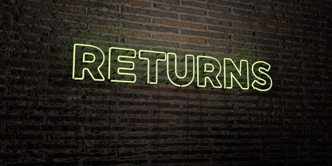 RETURNS -Realistic Neon Sign on Brick Wall background - 3D rendered royalty free stock image. Can be used for online banner ads and direct mailers..