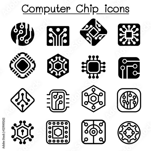"""Computer Chips and Electronic Circuit icons"" Stock image ..."