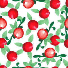 Hand drawn watercolor seamless pattern. Cranberries.