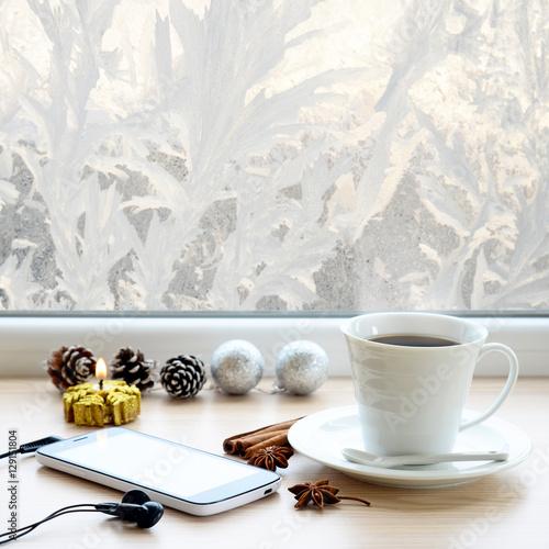 Coffee Christmas Tree Ornaments.Cup Of Coffee Smartphone Headphones And Christmas Tree
