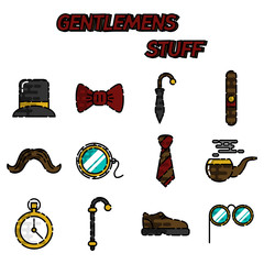 Gentlemens vintage stuff flat icon set