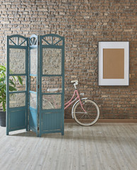 brick wall concept with paravane and bike