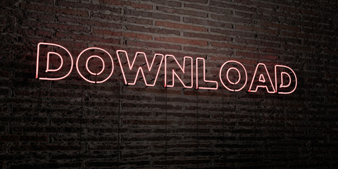 DOWNLOAD -Realistic Neon Sign on Brick Wall background - 3D rendered royalty free stock image. Can be used for online banner ads and direct mailers..