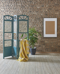 folding screen with brick wall concept