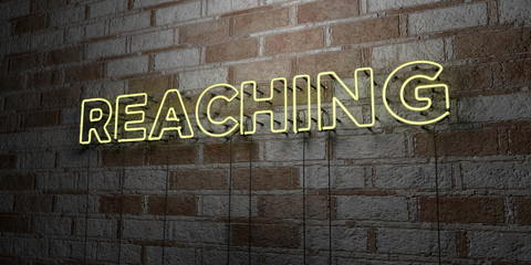 REACHING - Glowing Neon Sign on stonework wall - 3D rendered royalty free stock illustration.  Can be used for online banner ads and direct mailers..