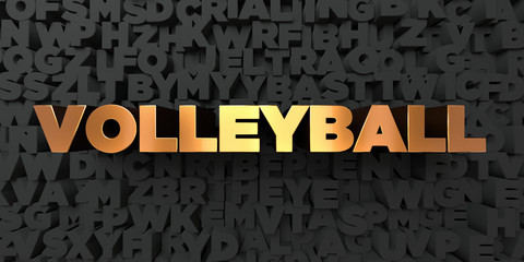 Volleyball - Gold text on black background - 3D rendered royalty free stock picture. This image can be used for an online website banner ad or a print postcard.