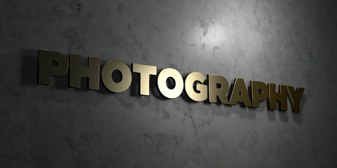 Photography - Gold text on black background - 3D rendered royalty free stock picture. This image can be used for an online website banner ad or a print postcard.