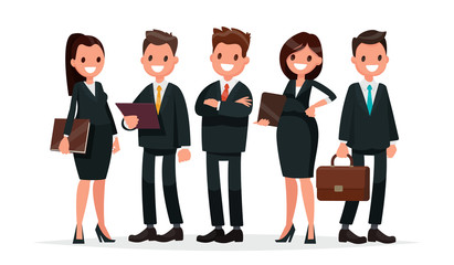 Business team. A group of people dressed in business suits. Vect