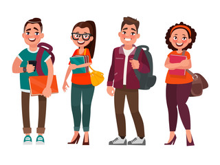 Characters of students on a white background. Vector illustratio