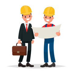 Engineer and foreman discuss draft  building. Vector illustratio