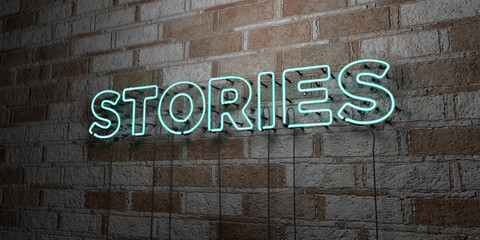 STORIES - Glowing Neon Sign on stonework wall - 3D rendered royalty free stock illustration.  Can be used for online banner ads and direct mailers..