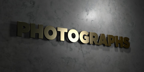 Photographs - Gold text on black background - 3D rendered royalty free stock picture. This image can be used for an online website banner ad or a print postcard.