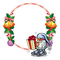 Holiday round frame with decorations and funny gnome.