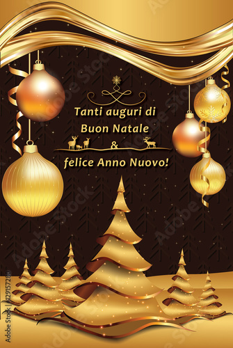 Auguri Di Buon Natale Merry Christmas.Merry Christmas And Happy New Year Italian Greeting Card Tanti