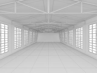 Huge empty light warehouse