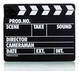 Black with white lettering clapper board isolated