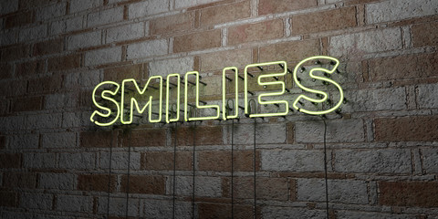 SMILIES - Glowing Neon Sign on stonework wall - 3D rendered royalty free stock illustration.  Can be used for online banner ads and direct mailers..