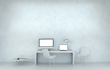 Modern white desk office interior with computer and devices 3D r