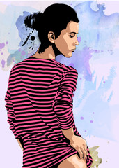 Woman stripes t-shirt flirting. Vector image