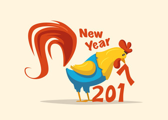 New Year symbol. Fire Rooster. Cartoon vector illustration