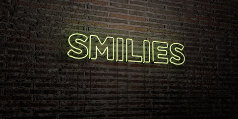 SMILIES -Realistic Neon Sign on Brick Wall background - 3D rendered royalty free stock image. Can be used for online banner ads and direct mailers..