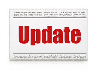 Web development concept: newspaper headline Update