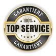 Goldener Top Service Siegel mit schwarzem Rand