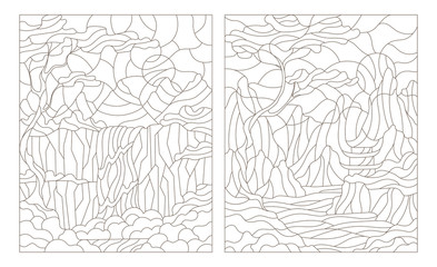 Set contour illustration of stained glass Windows with mountain scenery