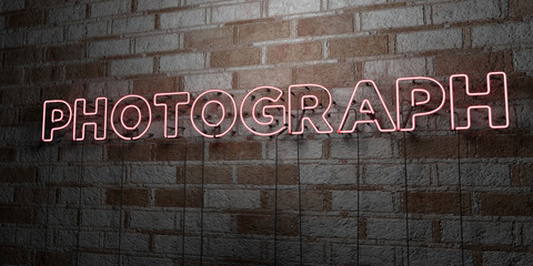 PHOTOGRAPH - Glowing Neon Sign on stonework wall - 3D rendered royalty free stock illustration.  Can be used for online banner ads and direct mailers..
