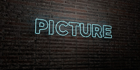 PICTURE -Realistic Neon Sign on Brick Wall background - 3D rendered royalty free stock image. Can be used for online banner ads and direct mailers..