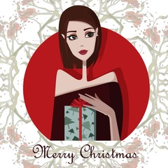 Colorful illustration of girl with present. Cute cartoon vector illustration.